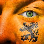 Dutch Lion Painted On Orange Face