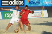 MOSCOW, RUSSIA - JULY 13, 2014: Match Russia vs Spain during Moscow stage of Euro Beach Soccer League. Russia won the match 4-1 and took the first place