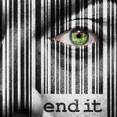 picture of superimpose  - Barcode with the word end it as concept superimposed on a man - JPG