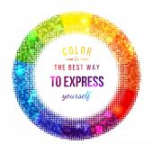 Bright halftone color wheel and type design