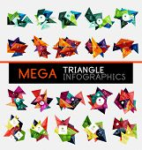Collection of geometric shape triangle infographic layouts - origami option graphics layots made of