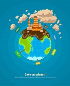 Ecology concept infographics template with world planet industrial ecocatastrophe. Eps10 vector illu