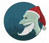 Evil Santa Claus in red hat with horror background