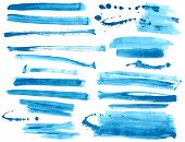 Watercolor blue / ink brush strokes collection