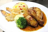 Chicken Steak On White Dish.