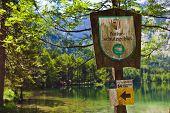 sign, nature reserve, langbathsee, salzkammergut, austria