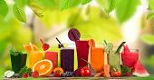 stock photo of fruit  - Fresh juice mix fruit - JPG