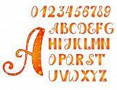 Bright Orange-yellow Alphabet And Numbers