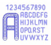 English Alphabet And Numbers Of Blue Circles