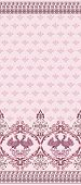 stock photo of bordure  - Wide bordure with decorative birds on a pink seamless background - JPG