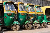 Auto Rickshaw Taxis In Agra, India.