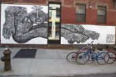 Mural in Williamsburg section in Brooklyn