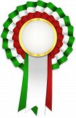 picture of rosettes  - Tricolor rosette with green white and red ribbon and golden frame - JPG