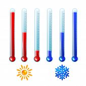 Set Of Red And Blue Thermometers