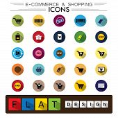 Internet E-commerce Shopping & Business Flat Design Vector Icons Set