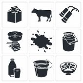 stock photo of animal husbandry  - Milk production icons set on a white background - JPG
