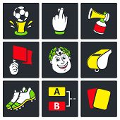 stock photo of offside  - Soccer vector icons set on a black background - JPG
