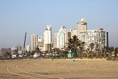Towering Durban Beachfront Hotels Viewed From Beach