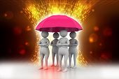 3d people under a red umbrella, team work concept