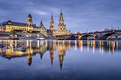 Dresden, Germany cityscape on the Elbe River.
