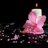 Beautiful Spa Concept  Of Pink Hibiscus, Candles, Zen Stones With Drops And Pearl Beads On Ripple Re