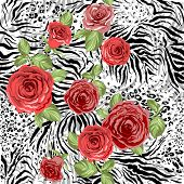 Repeating animal pattern and flowers. Seamless background