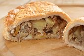 picture of rutabaga  - Traditional Cornish pasty filled with meat potato swede and carrots - JPG