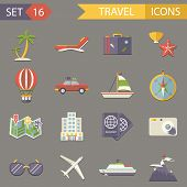 Retro Travel Rest Symbols Tourist Accessories Icons Set Trendy Modern Flat Design Template Vector Il