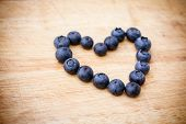 Fresh Blueberries In The Shape Of Heart