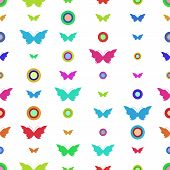 Seamless Pattern With Butterflies And Circles