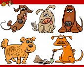 Happy Dogs Cartoon Illustration Set