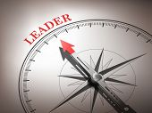 Abstract Compass Needle Pointing The Word Leader