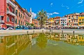 facades and tower bell in the main square of Lerici, Liguria - Italy