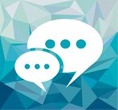 Comic Speech Bubble over a hipster blue tone background with white space for your text.