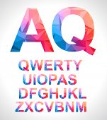 Modern alphabet with triangle texture inside. Hipster look for your cover or posters background.