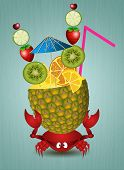 Funny Crab With Pineapple
