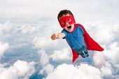 Superhero Child Boy Flying