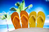 Summer Beach Background, Flip flops