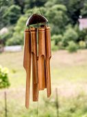 Bamboo wind chimes hung outside