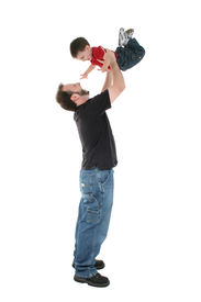 stock photo of father child  - Father and son playing airplane over a white background - JPG