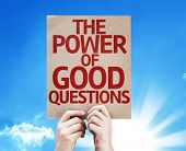 The Power Of Good Questions card on sky background