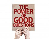 The Power Of Good Questions card isolated on white background