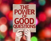 The Power Of Good Questions card with colorful background with defocused lights
