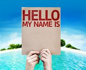 Hello My Name Is card with a beach background