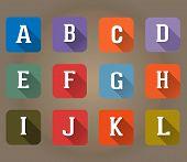 A-l Flat Icons Alphabet Letter Set
