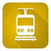 train flat icon, gold christmas button, public transport sign