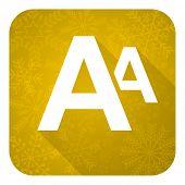 alphabet flat icon, gold christmas button