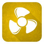 fan flat icon, gold christmas button