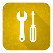 tools flat icon, gold christmas button, service sign