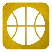 ball flat icon, gold christmas button, basketball sign